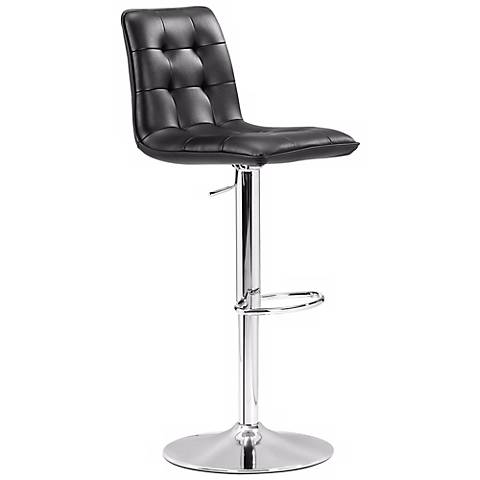 Zuo Oxygen Black Adjustable Bar Stool or Counter Stool