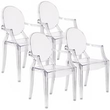 Set of 4 Zuo Anime Transparent Dining Chairs