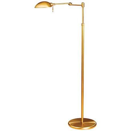 Holtkoetter Antique Brass Swing Arm Pharmacy Floor Lamp