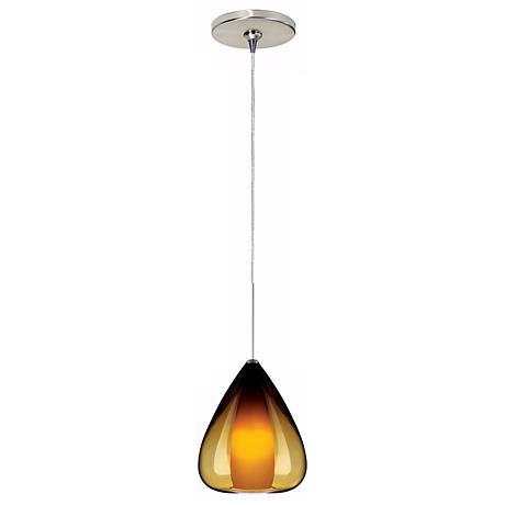 Soleil Amber Glass Satin Nickel Tech Lighting Mini Pendant