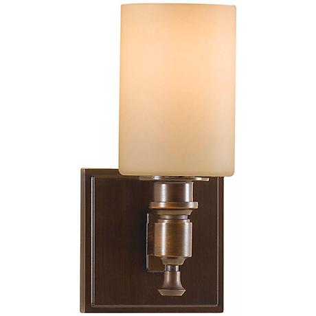 wall sconce features a heritage bronze finish and creme etched glass. Black Bedroom Furniture Sets. Home Design Ideas