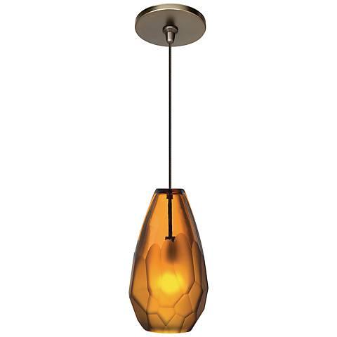 "LBL Briolette FSJ 4 1/4"" Wide Amber Glass Mini Pendant"