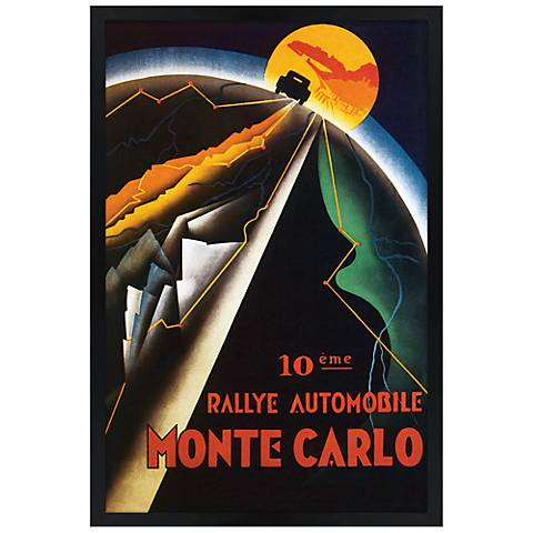 "Monte Carlo 30"" High Black Rectangular Giclee Wall Art"