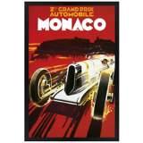 "Monaco Grand Prix 30"" High Black Rectangular Giclee Wall Art"