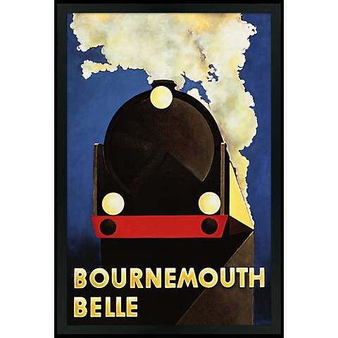 "Bournemouth Belle 30"" High Black Rectangular Giclee Wall Art"