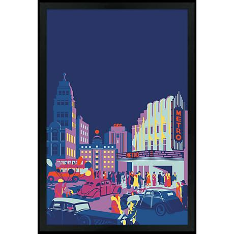 "Gotham 30"" High Black Rectangular Giclee Wall Art"