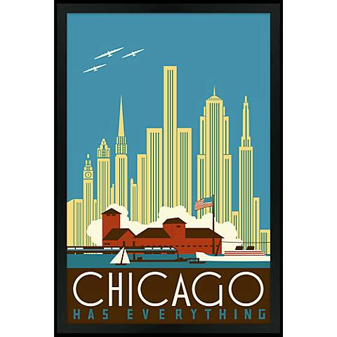 "Chicago 30"" High Black Rectangular Giclee Wall Art"