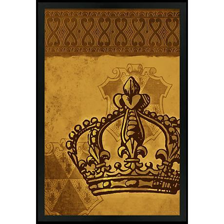"""Crown Gold 30"""" High Black Rectangular Giclee Wall Art"""