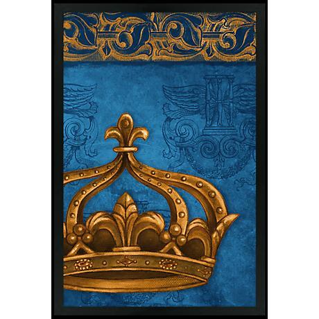 """Crown Blue 30"""" High Black Rectangular Giclee Wall Art"""