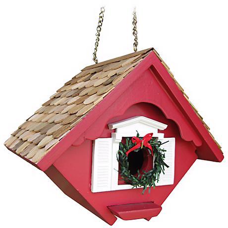 Red Christmas Wren Cottage Bird House