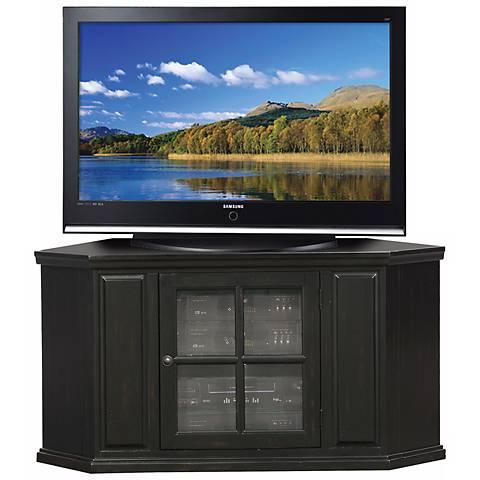 "Hand-Rubbed Black 46"" Wide Corner Plasma TV Stand"
