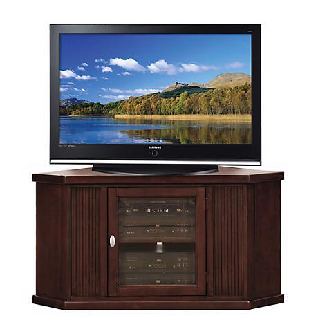 """Espresso Wood 46"""" Wide Corner Television Console"""