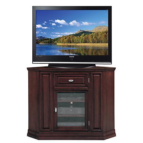 """Espresso Wood 46"""" Wide Tall Corner Television Console"""