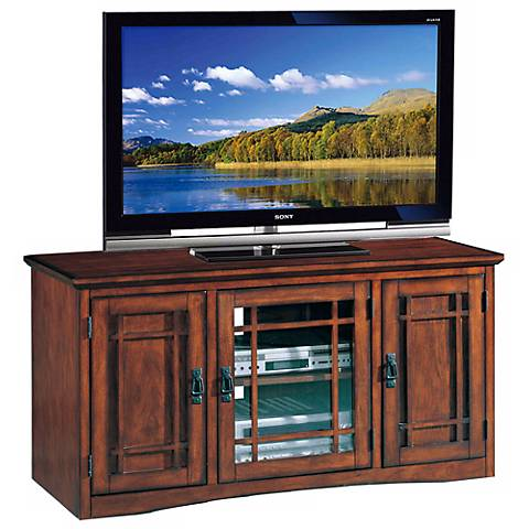 mission oak 50 wide television console m9373 lamps plus. Black Bedroom Furniture Sets. Home Design Ideas