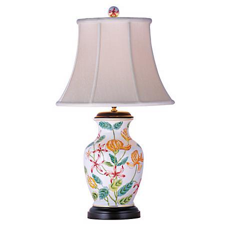 "White Floral Porcelain Vase 24"" High Table Lamp"