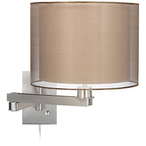 Possini Euro Sheer Bronze Shade Plug-In Swing Arm Wall Lamp