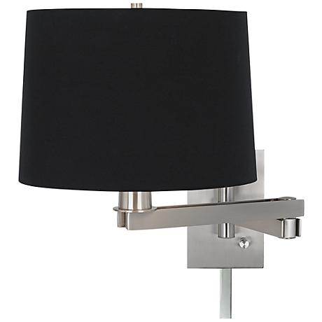 possini euro black fabric drum swing arm with cord cover m9482 88533 05154 lamps plus. Black Bedroom Furniture Sets. Home Design Ideas