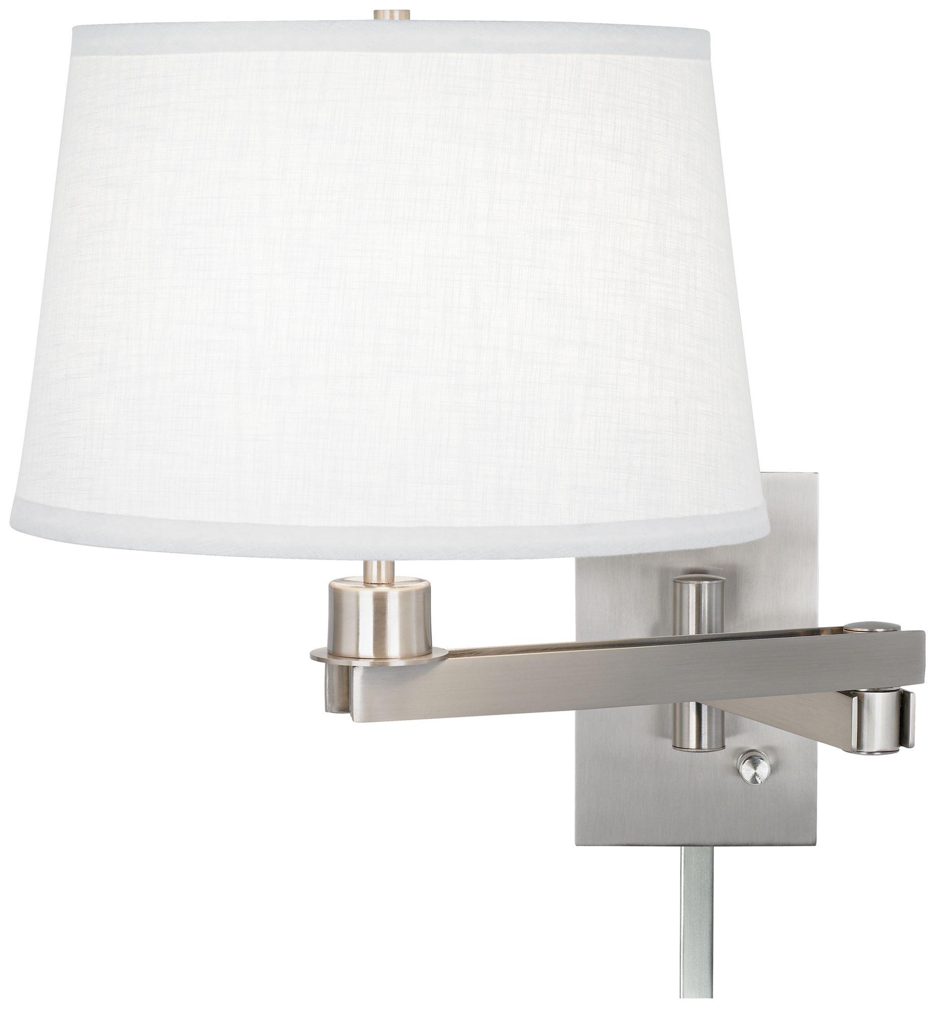 possini euro design white linen swing arm with cord cover - Possini Euro Design