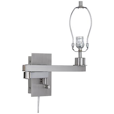 "Possini Euro 19"" Brushed Steel Plug-in Swing Arm Base"