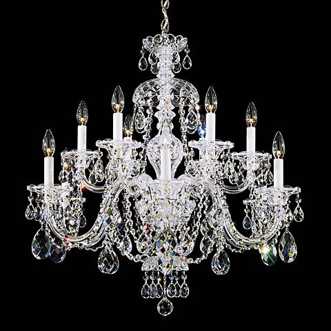 "Schonbek Sterling 29""W Swarovski Crystal 12-Light Chandelier"