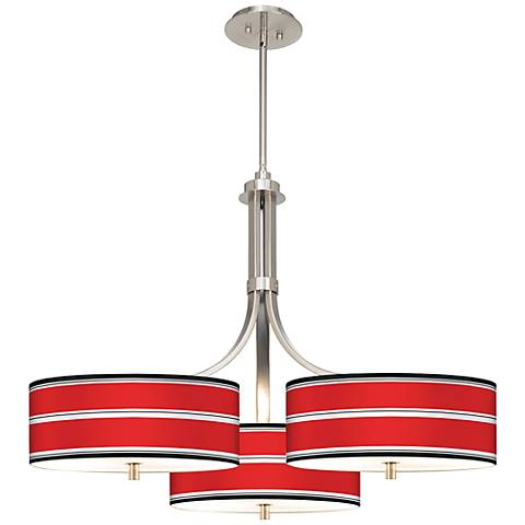 "Red Stripes Giclee 36"" Wide Triple Pendant"