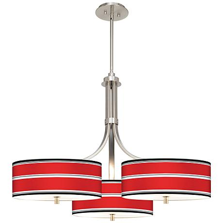 """Red Stripes Giclee 36"""" Wide Triple Pendant"""