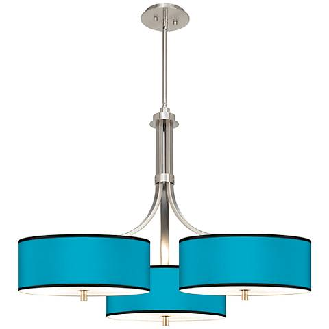 """Aqua Giclee 36"""" Wide Triple Large Contemporary Chandelier"""
