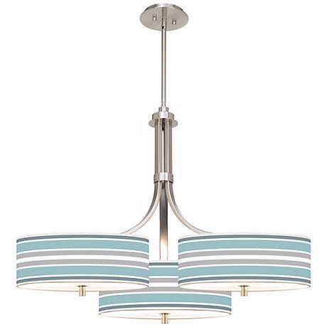 "Multi Color Stripes Giclee 36"" Wide Triple Pendant"
