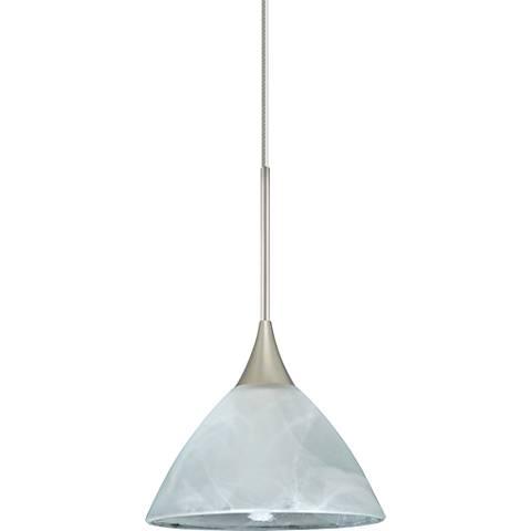 "Besa Domi 5"" Wide Satin Nickel Marble Glass Mini Pendant"