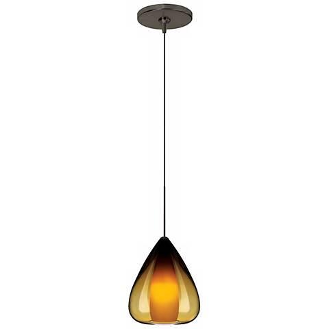 Soleil Amber Glass Bronze Tech Lighting Mini Pendant