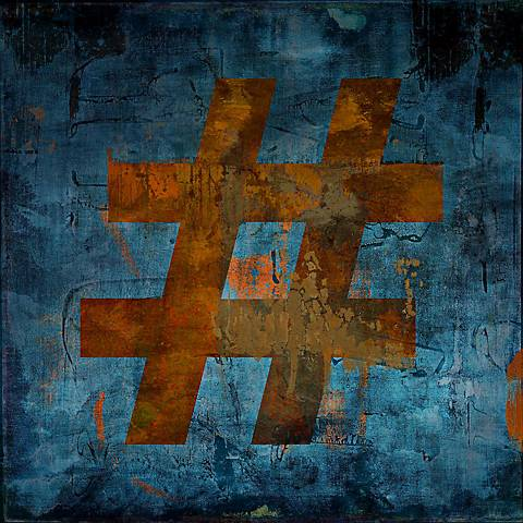 "Pound Sign (#) Type Face Giclee 24"" Square Canvas Wall Art"