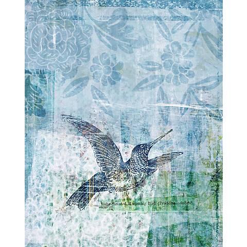"Blue Hummingbirds I Giclee 30"" High Canvas Wall Art"