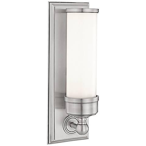 "Everett 14 1/4"" High Nickel Wall Sconce w/ Glossy Opal Glass"