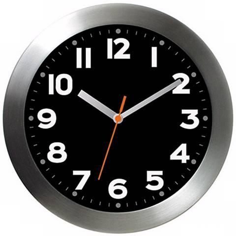"Aluminum Black 11"" Wide Wall Clock"