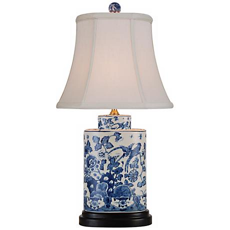 blue and white oval porcelain table lamp n1982 lamps plus. Black Bedroom Furniture Sets. Home Design Ideas