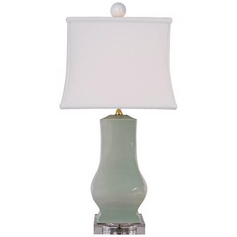 Celadon Crackle Square Urn Porcelain Table Lamp