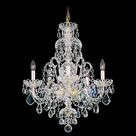 "Schonbek Olde World 22"" Wide Gold Spectra Crystal Chandelier"