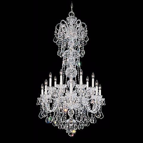 """Olde World 32"""" Wide Spectra Crystal Chandelier in Silver"""