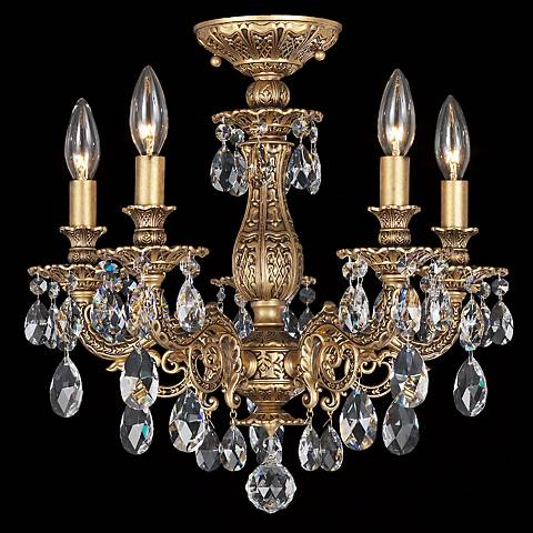 "Schonbek Milano 16 1/2""W Optic Clear Crystal Ceiling Light"