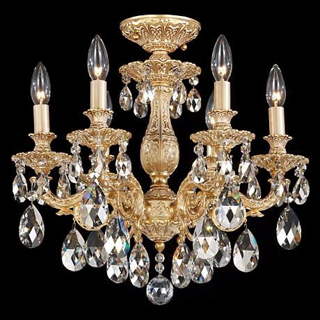"""Schonbek Milano 17""""W Midnight Clear Crystal Ceiling Light"""