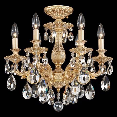 "Schonbek Milano 17"" Wide Swarovski Crystal Ceiling Light"