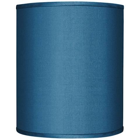 Blue Faux Silk Drum Lamp Shade 10x10x12 (Spider)
