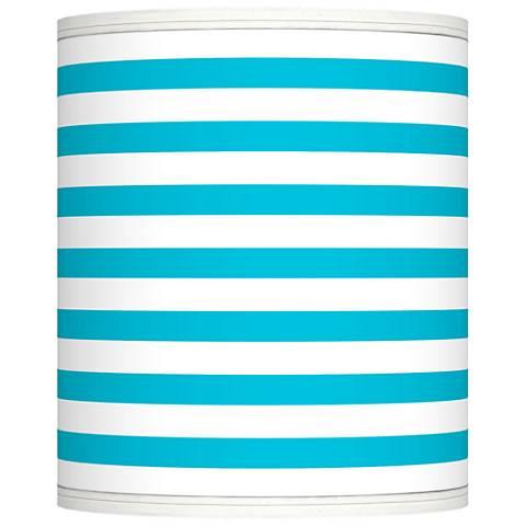 Aqua Horizontal Stripe Giclee Shade 10x10x12 (Spider)