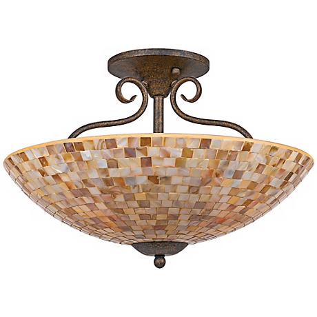"Quoizel Monterey Mosaic 18"" Wide Semiflush Ceiling Light"