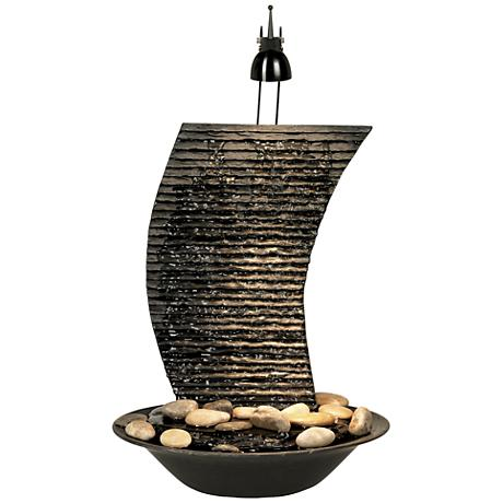 """Water Ripple 17 1/4"""" High Lighted Table Fountain"""