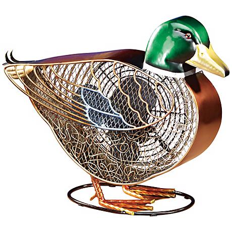 Mottled Brass Duck Figurine Desk Fan