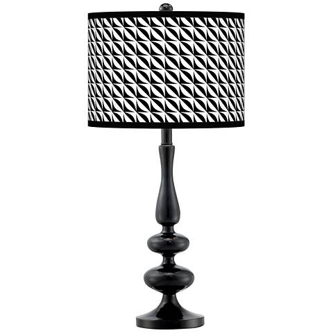 Waves Giclee Paley Black Table Lamp