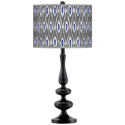 American Ikat Giclee Paley Black Table Lamp