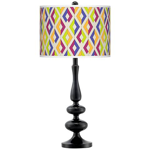 Chromatic Diamonds Giclee Paley Black Table Lamp