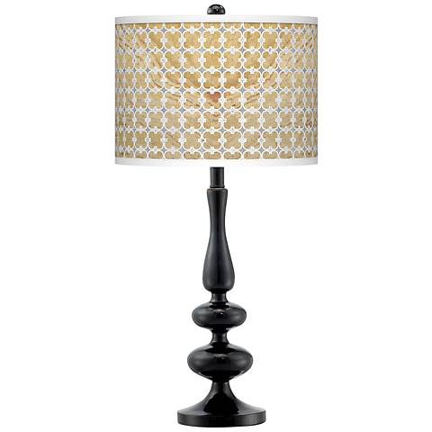 Marble Quatrefoil Giclee Paley Black Table Lamp